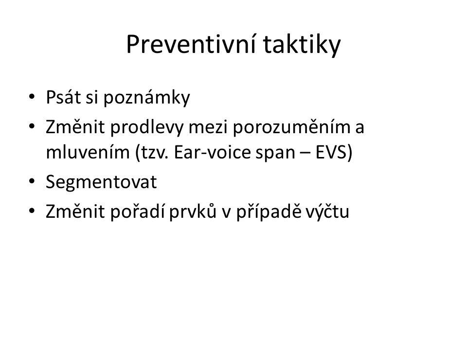 Preventivní taktiky Psát si poznámky
