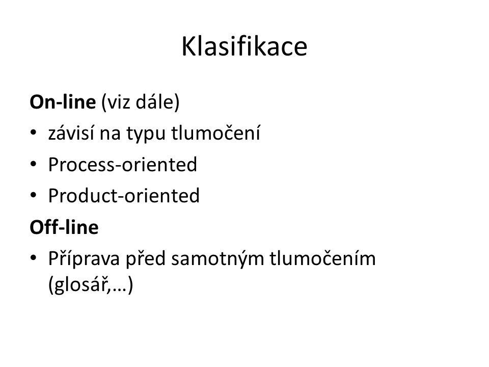 Klasifikace On-line (viz dále) závisí na typu tlumočení