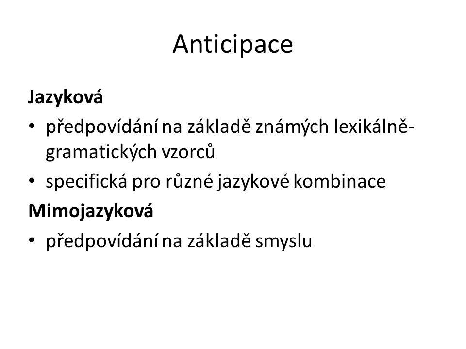 Anticipace Jazyková. předpovídání na základě známých lexikálně-gramatických vzorců. specifická pro různé jazykové kombinace.