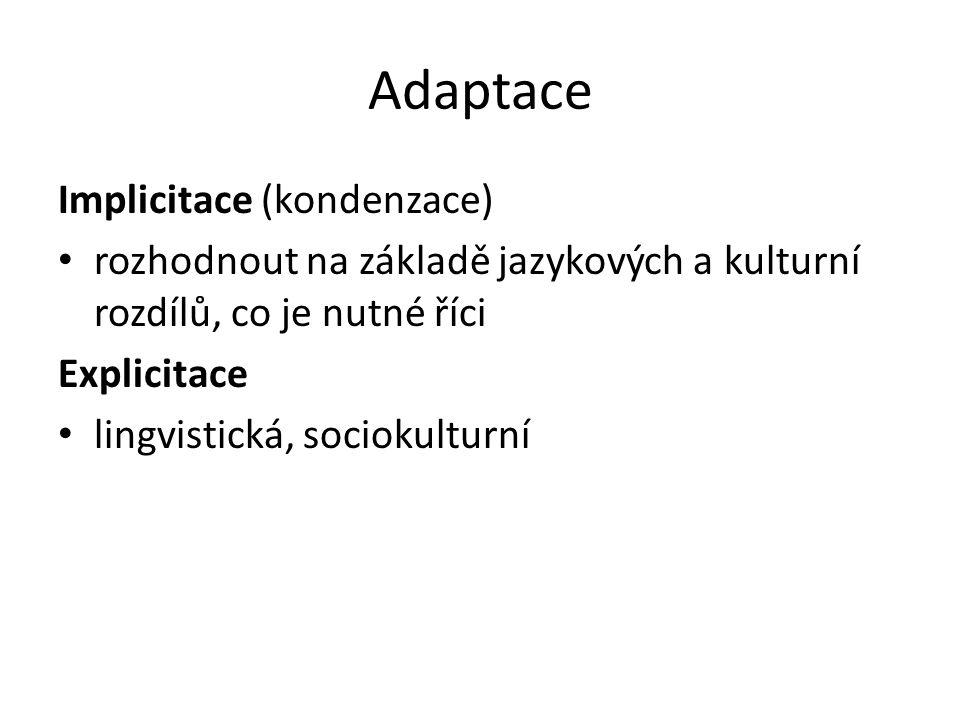 Adaptace Implicitace (kondenzace)