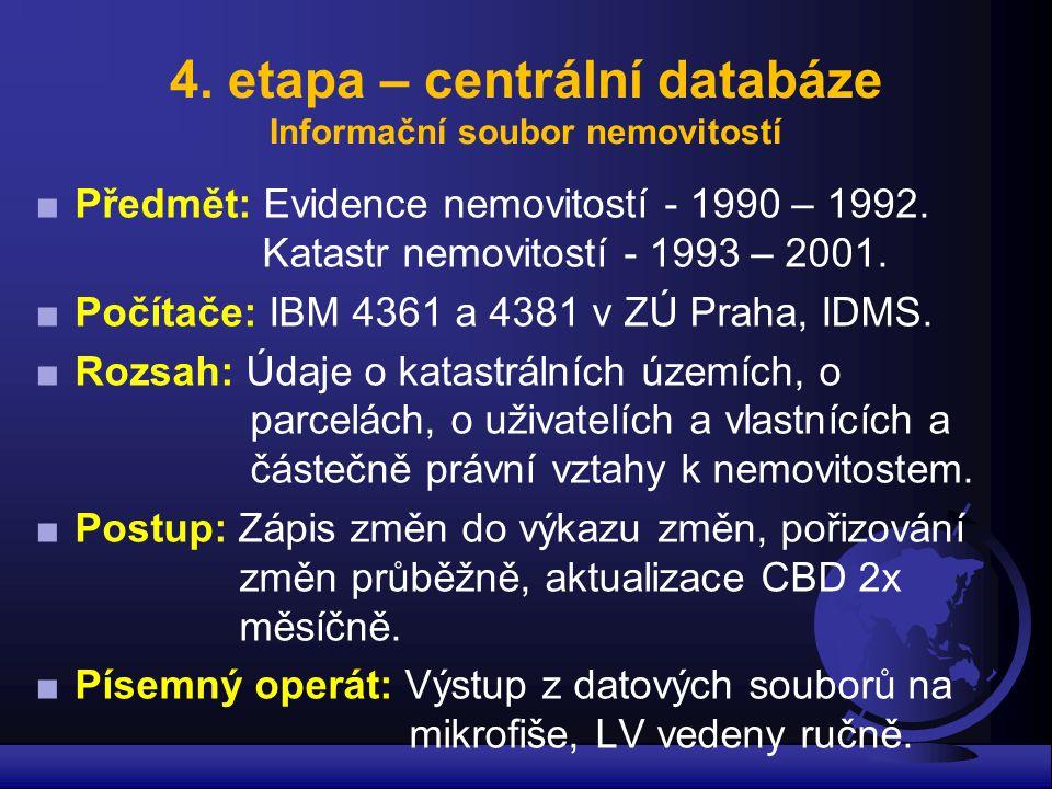 4. etapa – centrální databáze Informační soubor nemovitostí