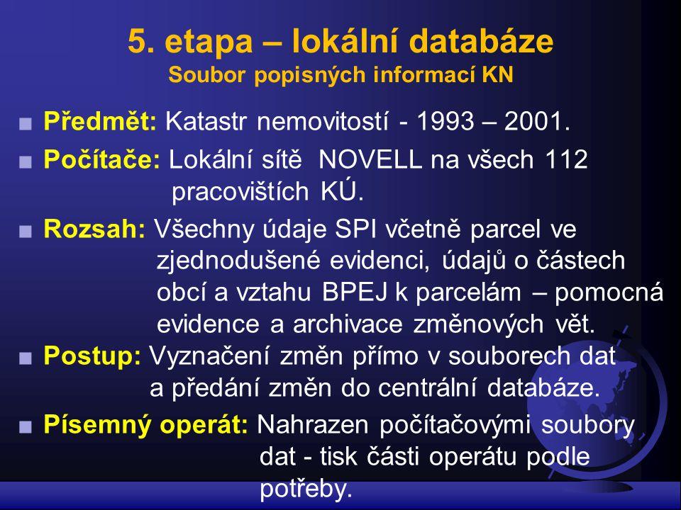 5. etapa – lokální databáze Soubor popisných informací KN