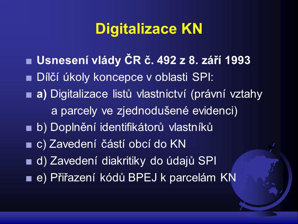 Digitalizace KN Usnesení vlády ČR č. 492 z 8. září 1993