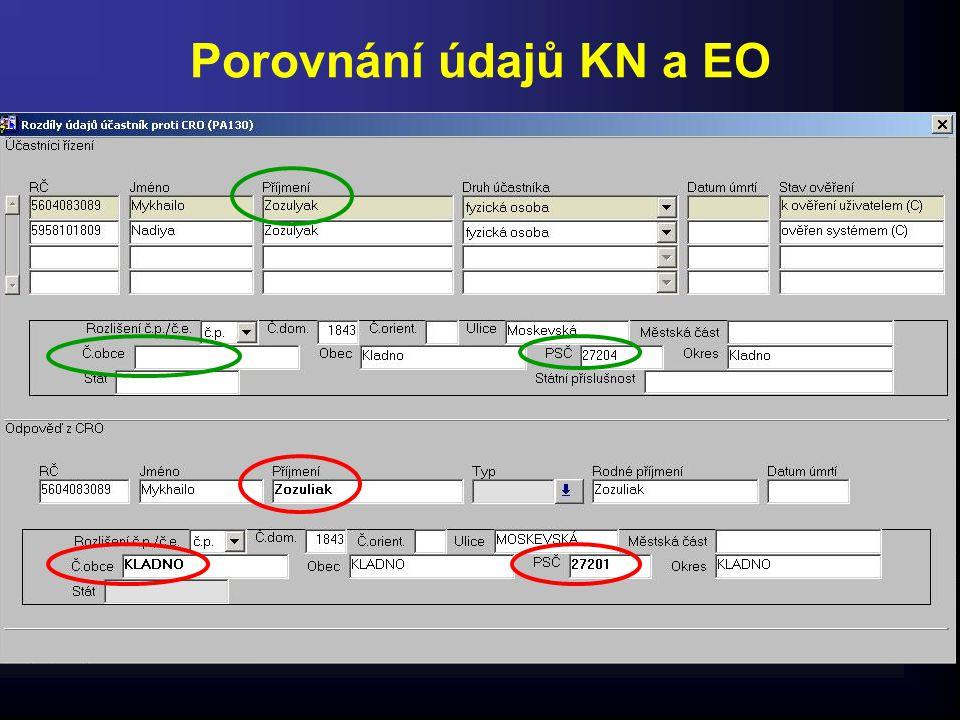 Porovnání údajů KN a EO