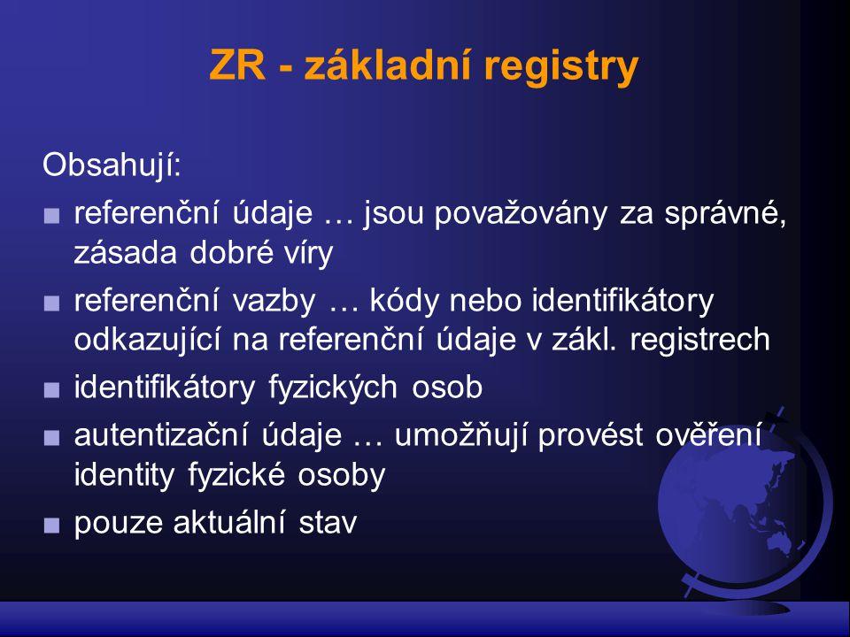 ZR - základní registry Obsahují: