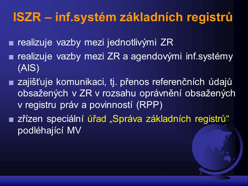 ISZR – inf.systém základních registrů
