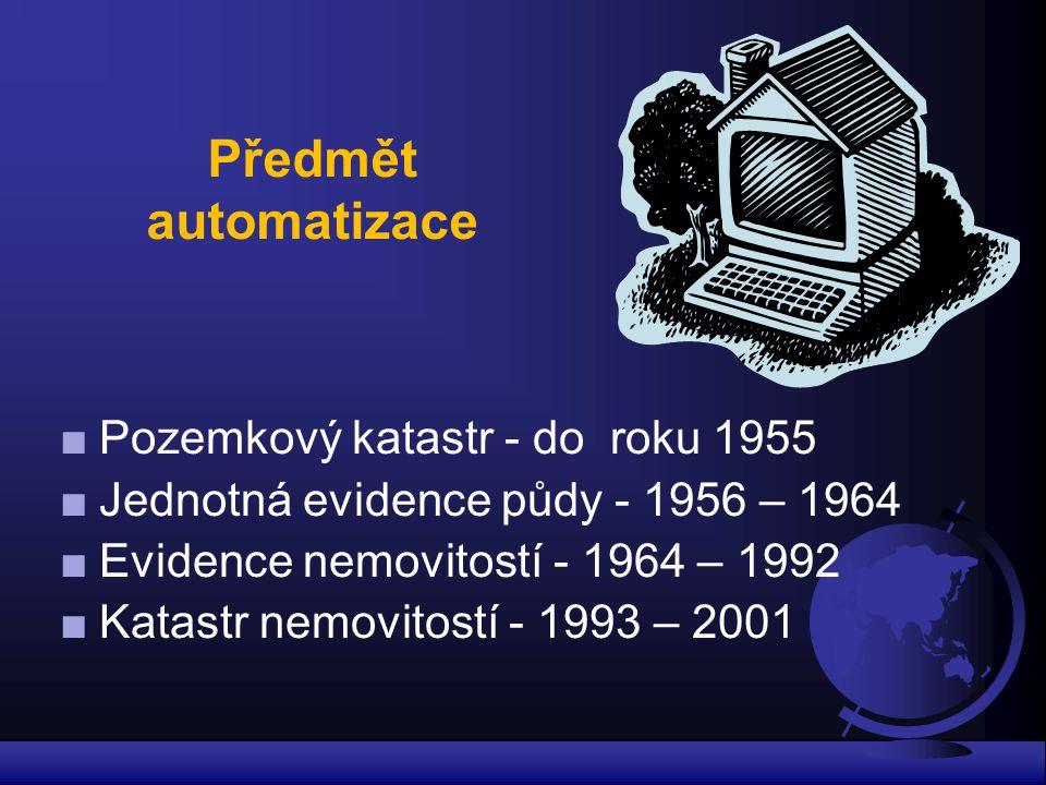 Předmět automatizace Pozemkový katastr - do roku 1955