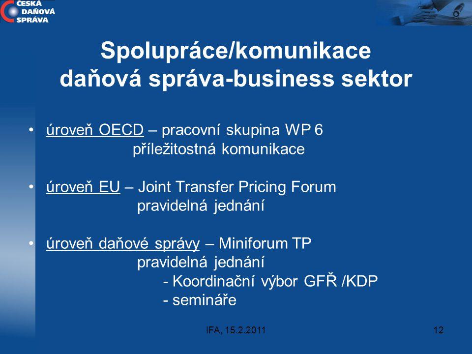 Spolupráce/komunikace daňová správa-business sektor