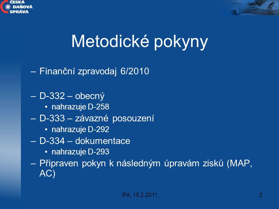 Metodické pokyny Finanční zpravodaj 6/2010 D-332 – obecný