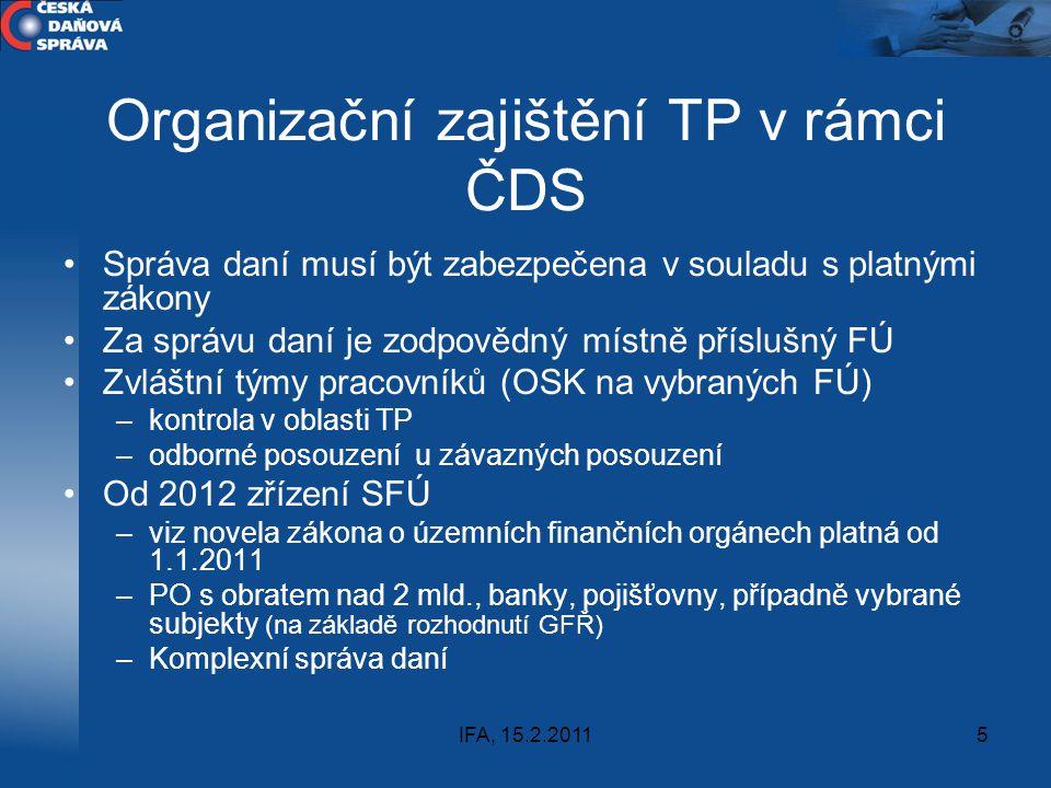 Organizační zajištění TP v rámci ČDS