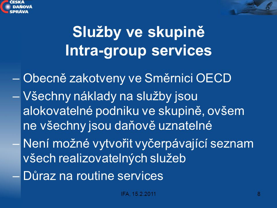 Služby ve skupině Intra-group services