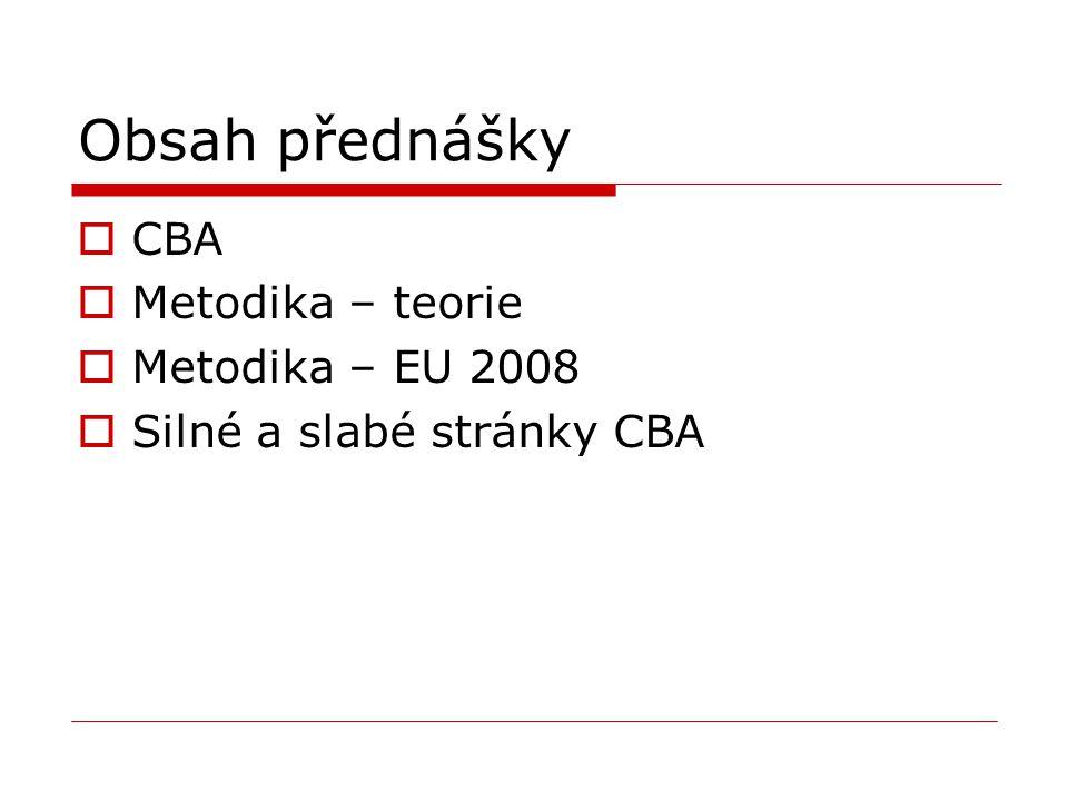 Obsah přednášky CBA Metodika – teorie Metodika – EU 2008