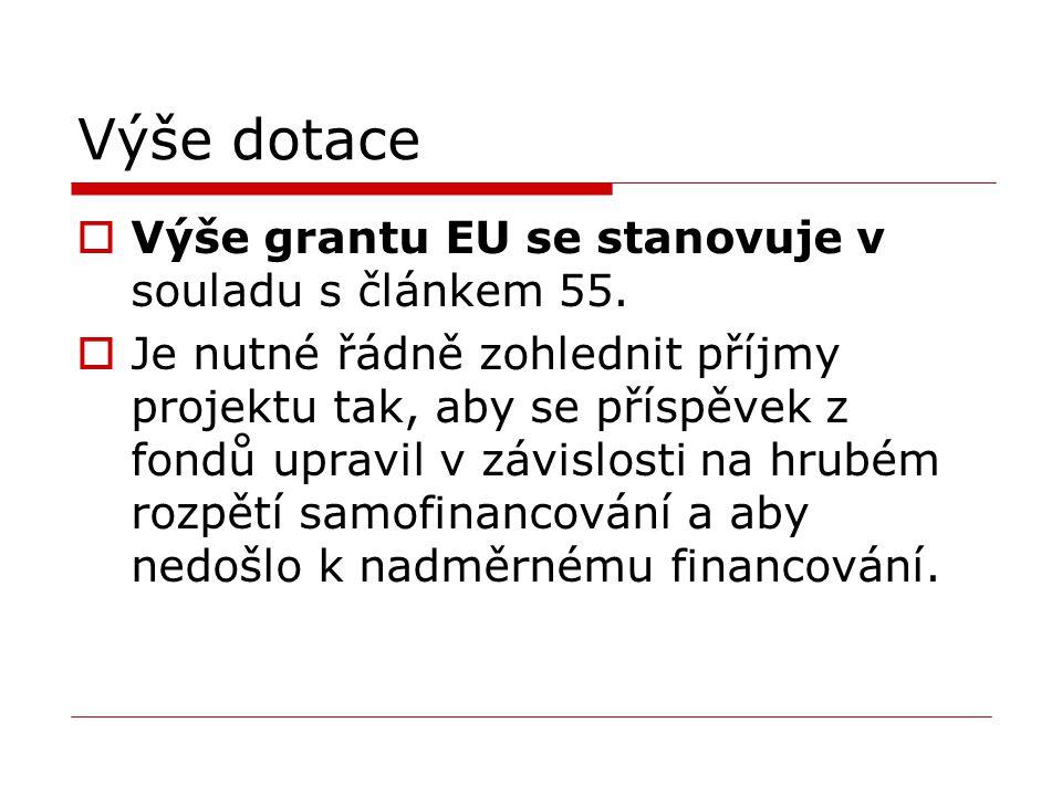 Výše dotace Výše grantu EU se stanovuje v souladu s článkem 55.