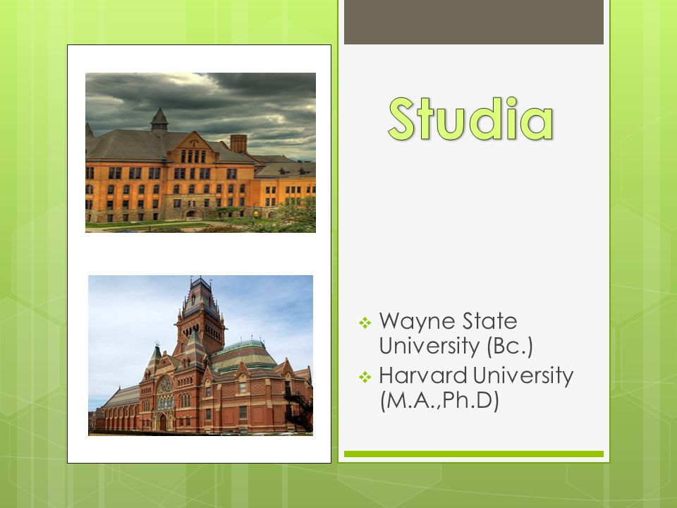 Studia Wayne State University (Bc.) Harvard University (M.A.,Ph.D)