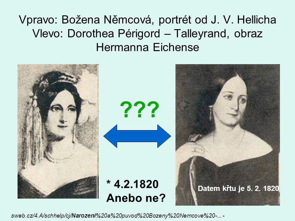 Vpravo: Božena Němcová, portrét od J. V