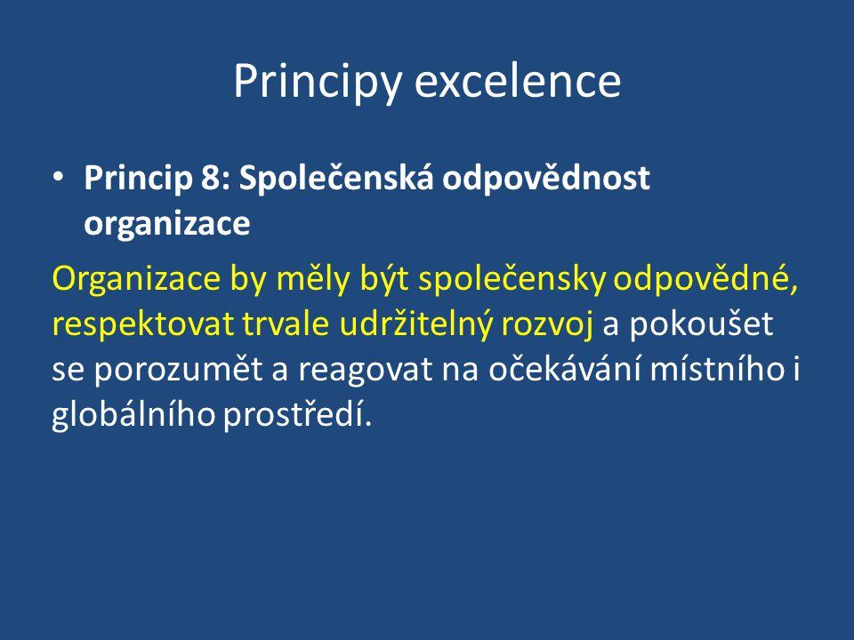 Principy excelence Princip 8: Společenská odpovědnost organizace