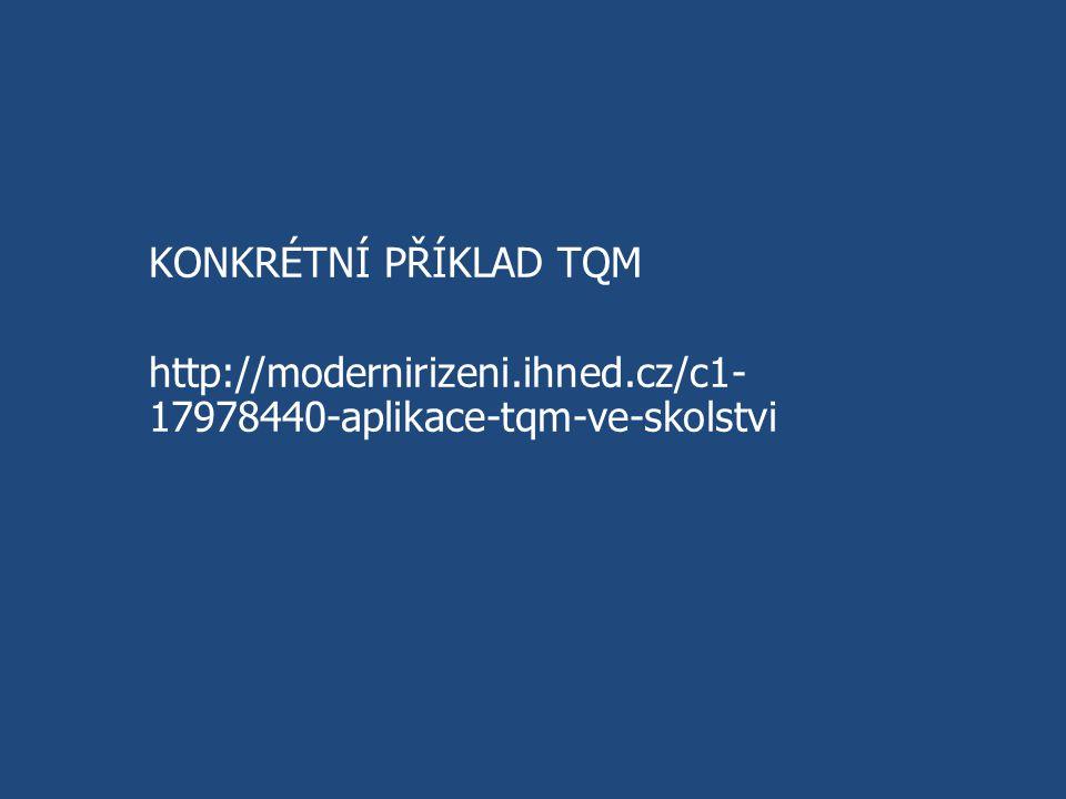 KONKRÉTNÍ PŘÍKLAD TQM http://modernirizeni.ihned.cz/c1- 17978440-aplikace-tqm-ve-skolstvi