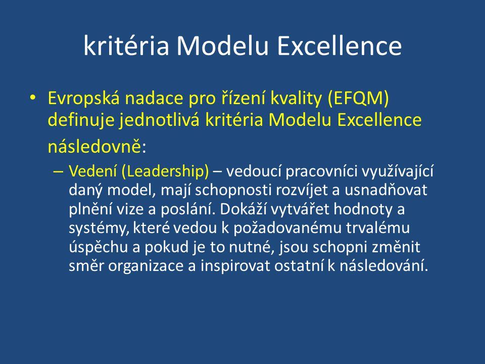 kritéria Modelu Excellence
