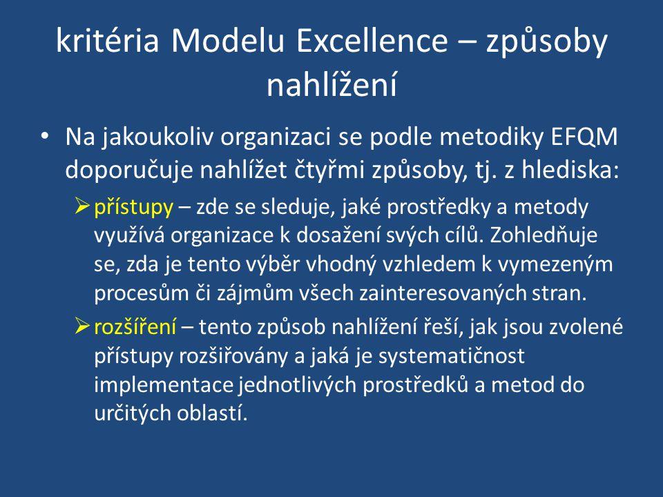 kritéria Modelu Excellence – způsoby nahlížení