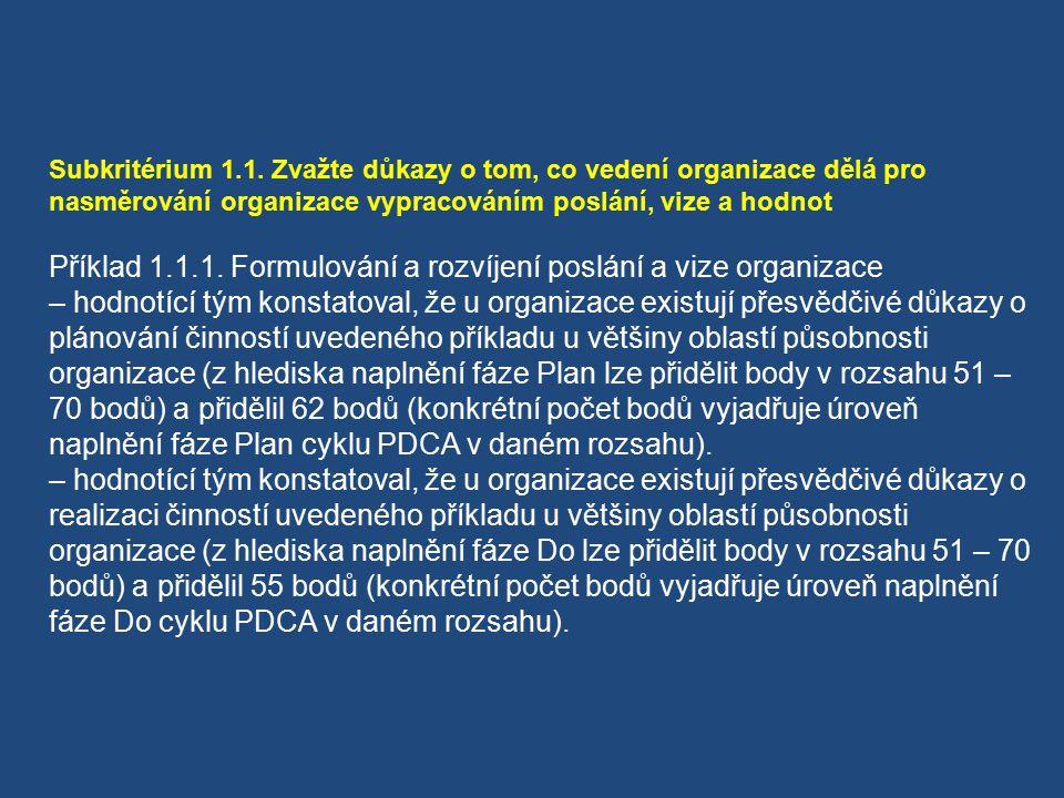 Příklad 1.1.1. Formulování a rozvíjení poslání a vize organizace