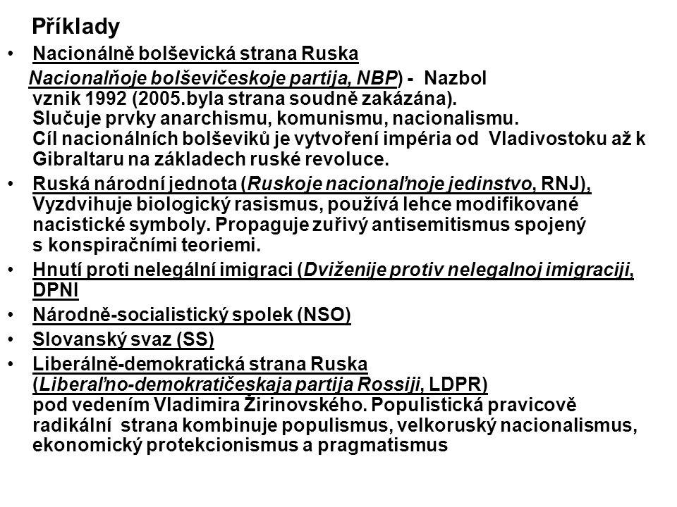 Příklady Nacionálně bolševická strana Ruska