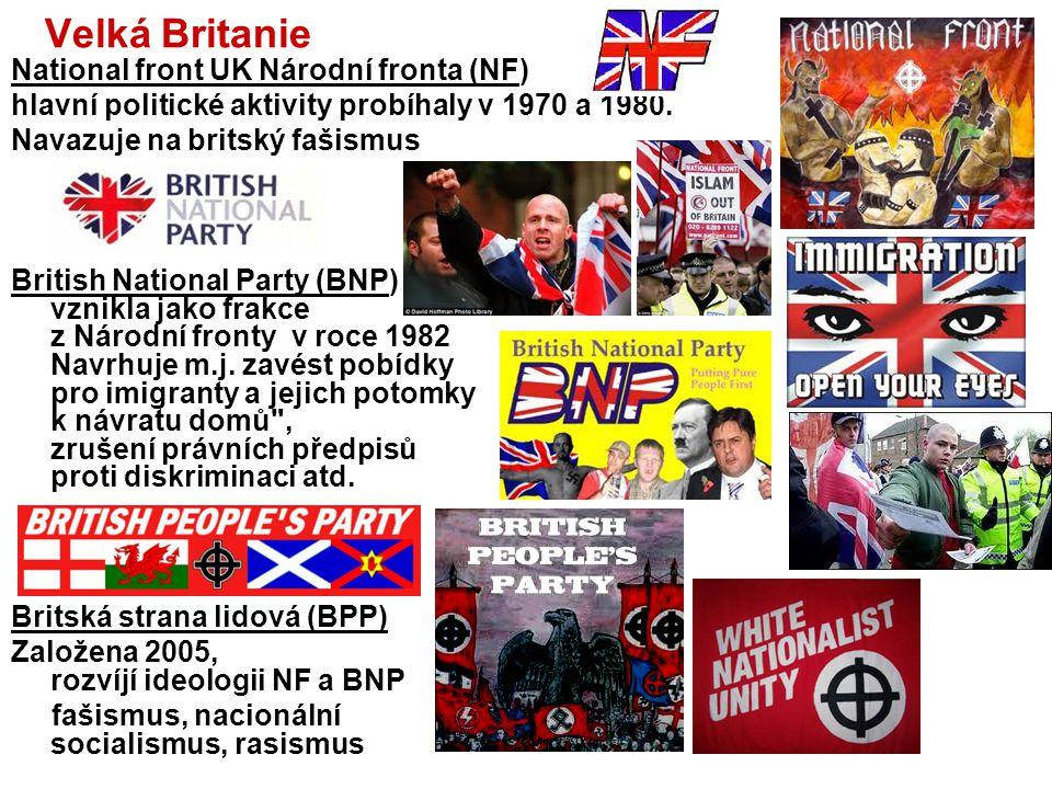 Velká Britanie National front UK Národní fronta (NF)