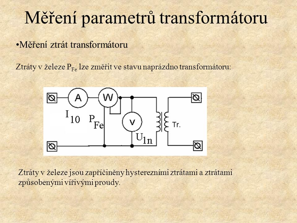 Měření parametrů transformátoru