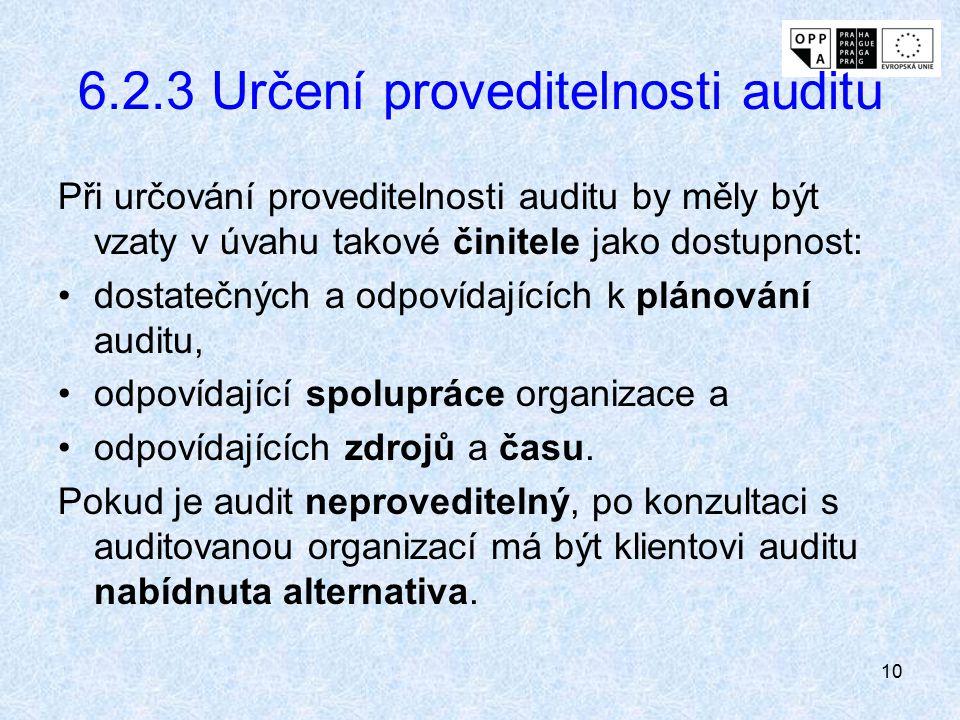 6.2.3 Určení proveditelnosti auditu