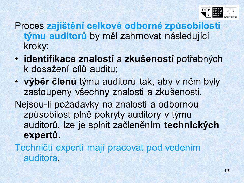 Proces zajištění celkové odborné způsobilosti týmu auditorů by měl zahrnovat následující kroky: