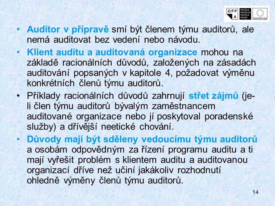 Auditor v přípravě smí být členem týmu auditorů, ale nemá auditovat bez vedení nebo návodu.