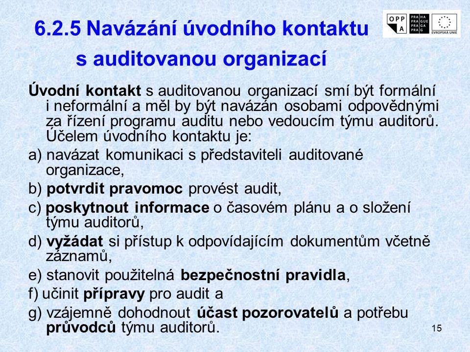 6.2.5 Navázání úvodního kontaktu s auditovanou organizací