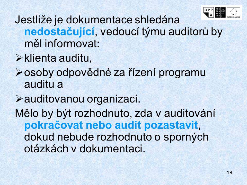 Jestliže je dokumentace shledána nedostačující, vedoucí týmu auditorů by měl informovat: