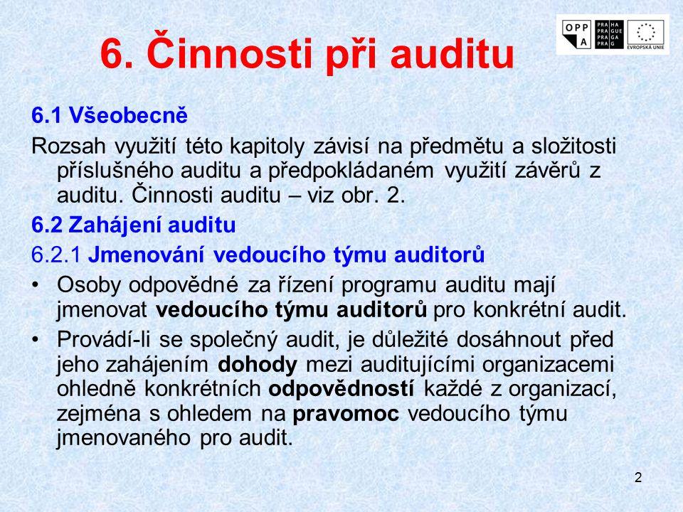 6. Činnosti při auditu 6.1 Všeobecně