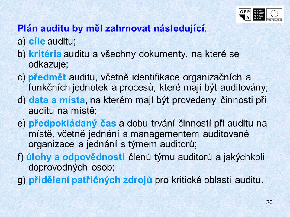 Plán auditu by měl zahrnovat následující: