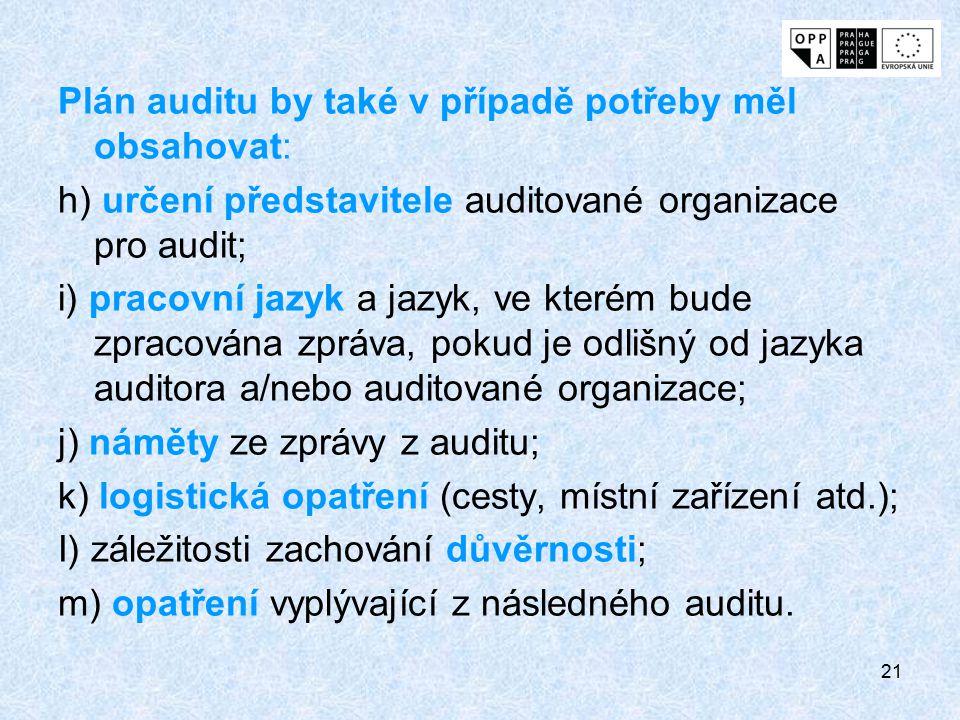 Plán auditu by také v případě potřeby měl obsahovat: