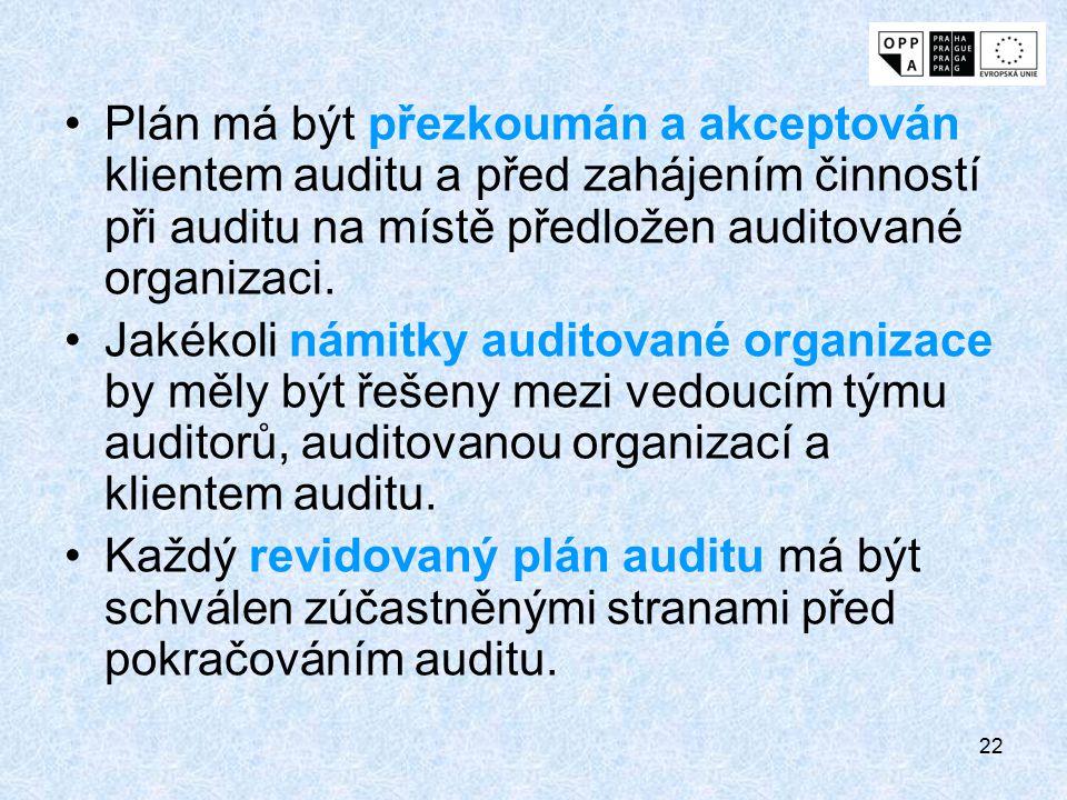 Plán má být přezkoumán a akceptován klientem auditu a před zahájením činností při auditu na místě předložen auditované organizaci.