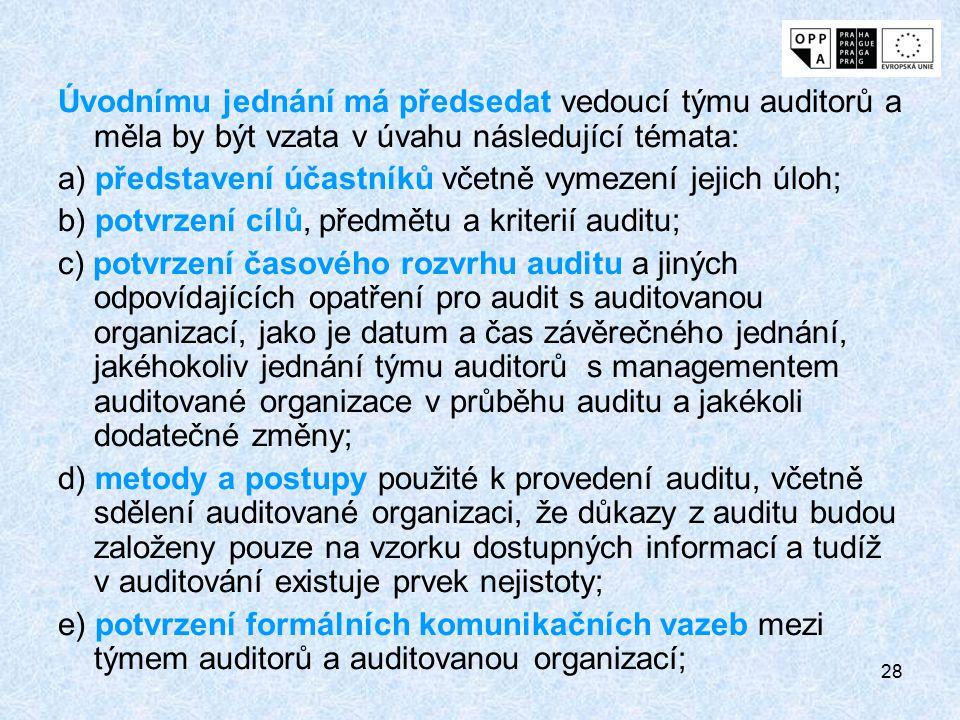 Úvodnímu jednání má předsedat vedoucí týmu auditorů a měla by být vzata v úvahu následující témata: