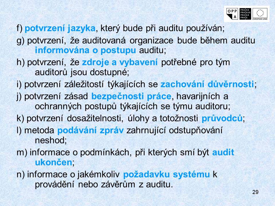 f) potvrzení jazyka, který bude při auditu používán;
