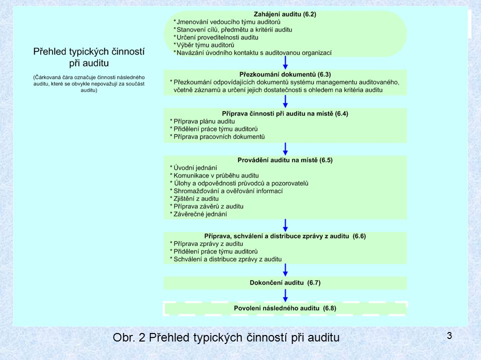 Obr. 2 Přehled typických činností při auditu