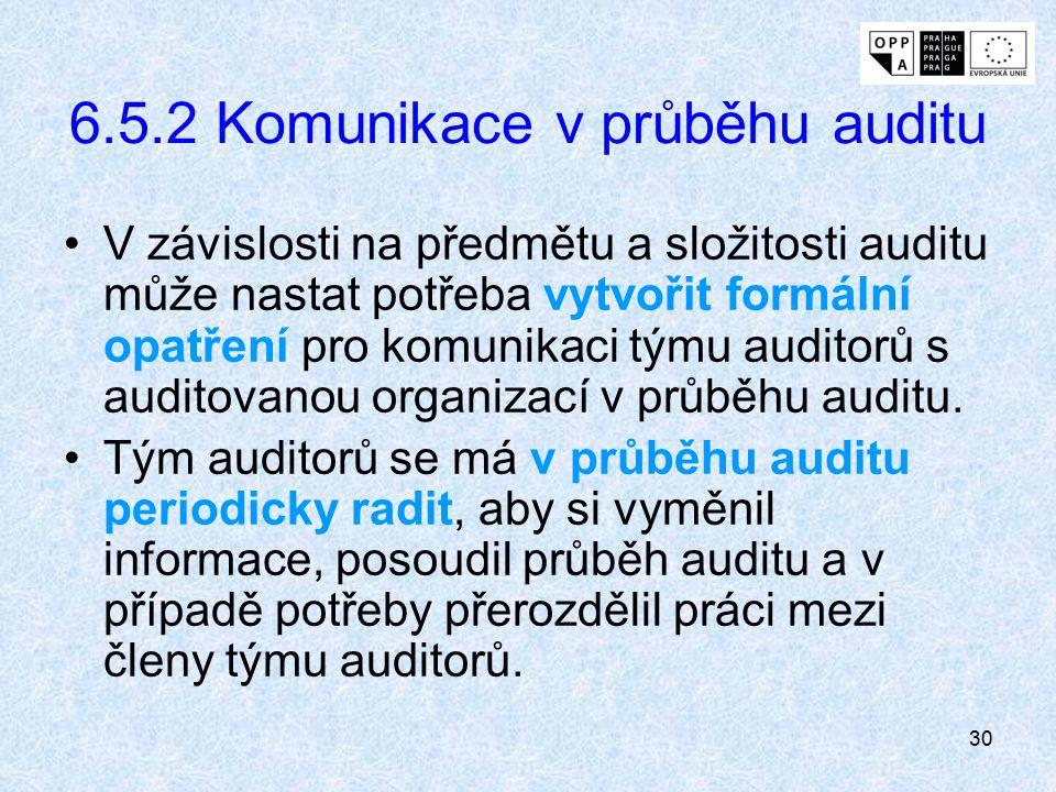 6.5.2 Komunikace v průběhu auditu