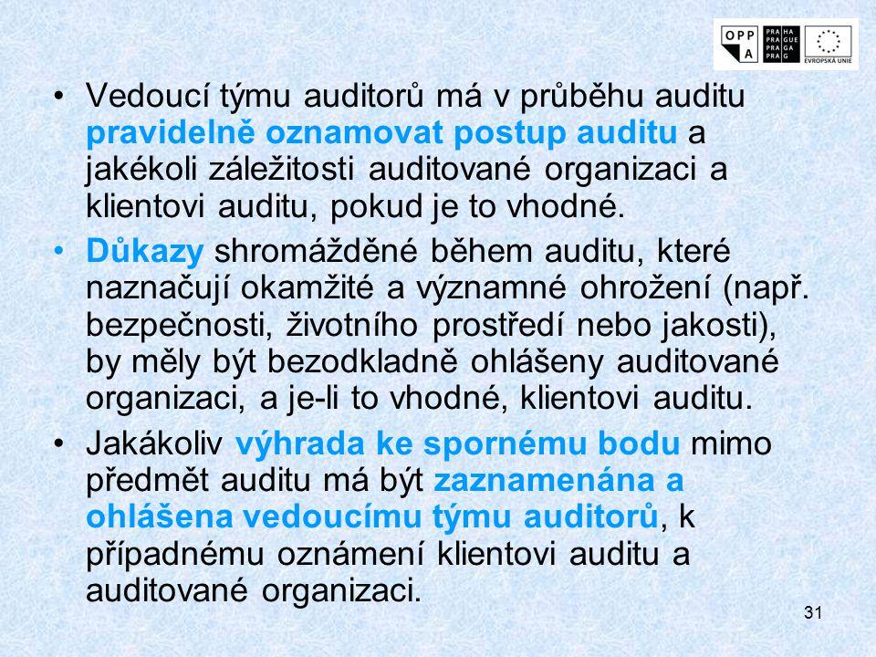 Vedoucí týmu auditorů má v průběhu auditu pravidelně oznamovat postup auditu a jakékoli záležitosti auditované organizaci a klientovi auditu, pokud je to vhodné.
