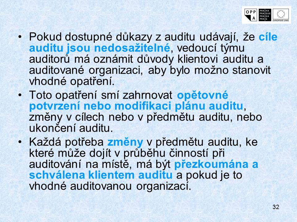 Pokud dostupné důkazy z auditu udávají, že cíle auditu jsou nedosažitelné, vedoucí týmu auditorů má oznámit důvody klientovi auditu a auditované organizaci, aby bylo možno stanovit vhodné opatření.