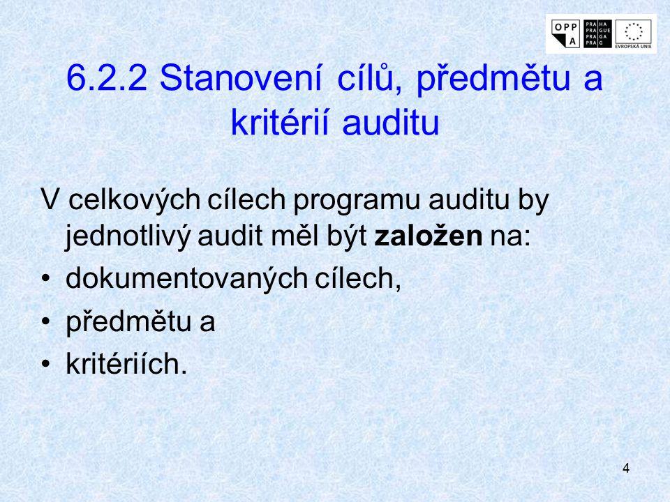 6.2.2 Stanovení cílů, předmětu a kritérií auditu