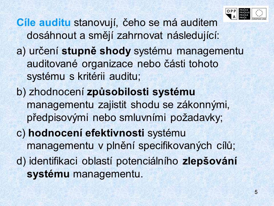 Cíle auditu stanovují, čeho se má auditem dosáhnout a smějí zahrnovat následující:
