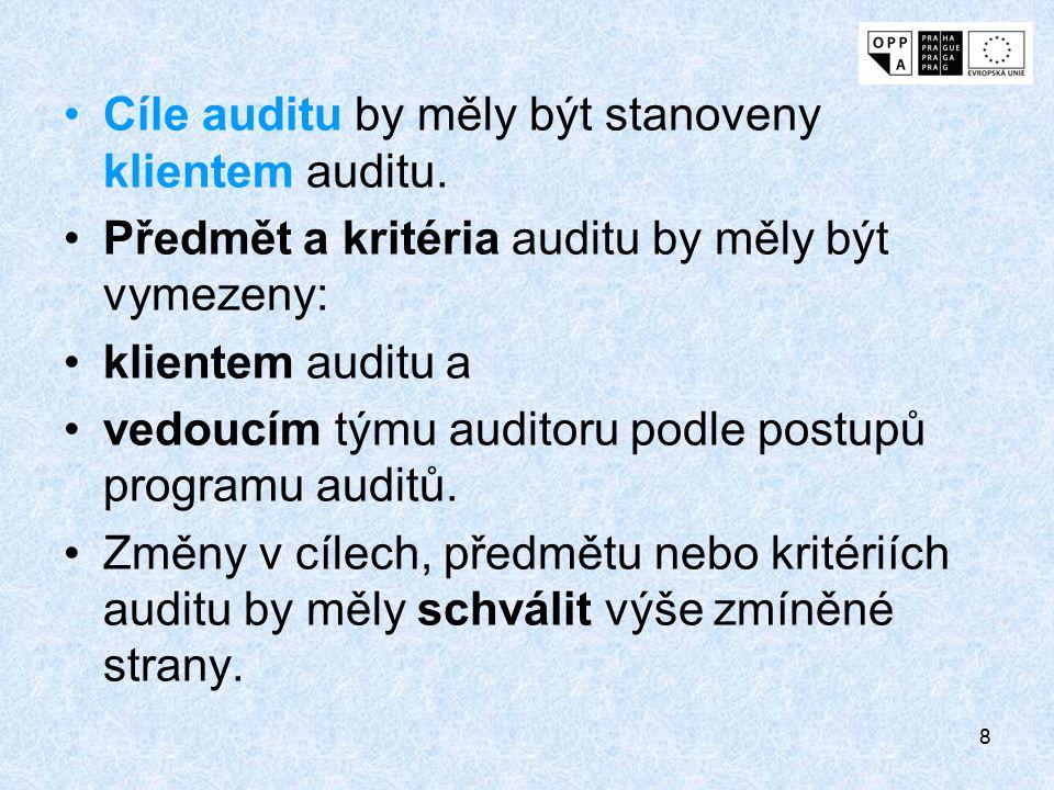 Cíle auditu by měly být stanoveny klientem auditu.
