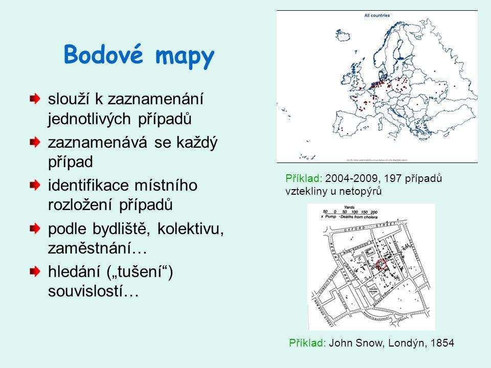 Bodové mapy slouží k zaznamenání jednotlivých případů