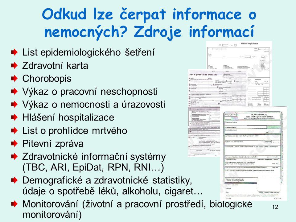 Odkud lze čerpat informace o nemocných Zdroje informací