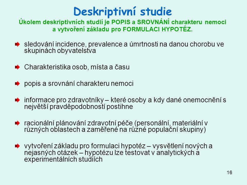 Deskriptivní studie Úkolem deskriptivních studií je POPIS a SROVNÁNÍ charakteru nemoci a vytvoření základu pro FORMULACI HYPOTÉZ.