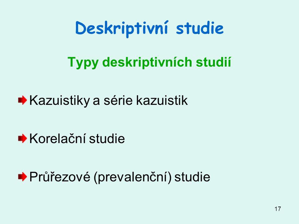 Typy deskriptivních studií