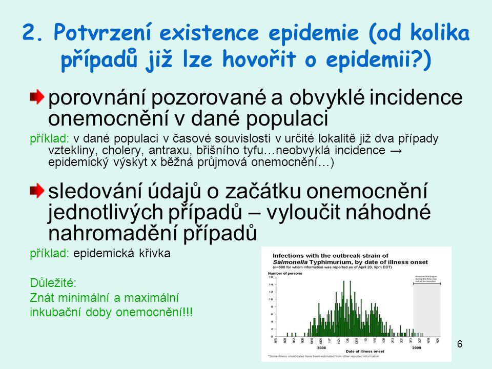porovnání pozorované a obvyklé incidence onemocnění v dané populaci